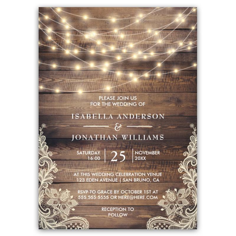 Rustic Wood & String Lights Vintage Lace Wedding Invitation