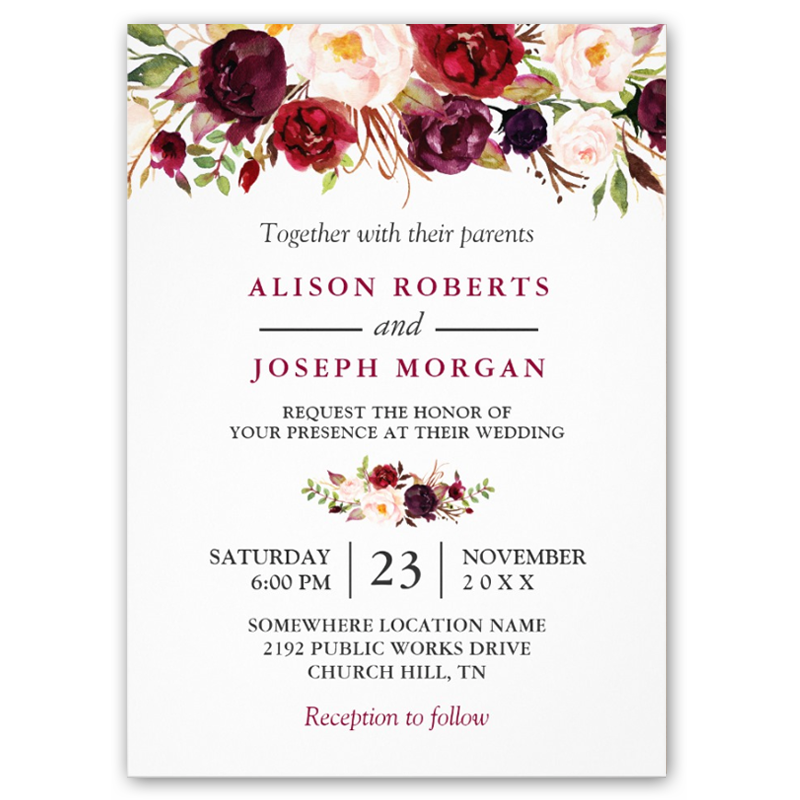Watercolor Burgundy Red Floral Rustic Boho Wedding Invitations