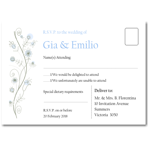 Wildflowers Blue Wedding RSVP Postcard 10Pk