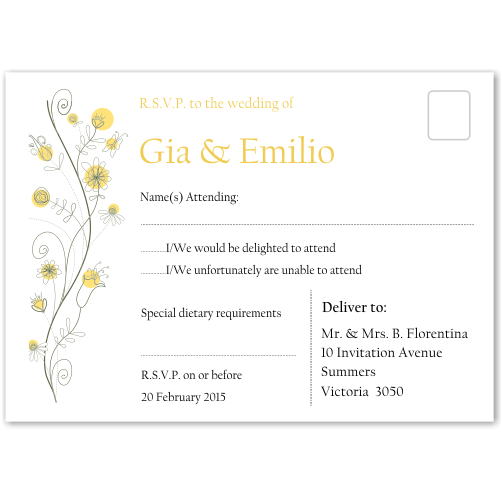 Wildflowers Gold Wedding RSVP Postcard 10Pk