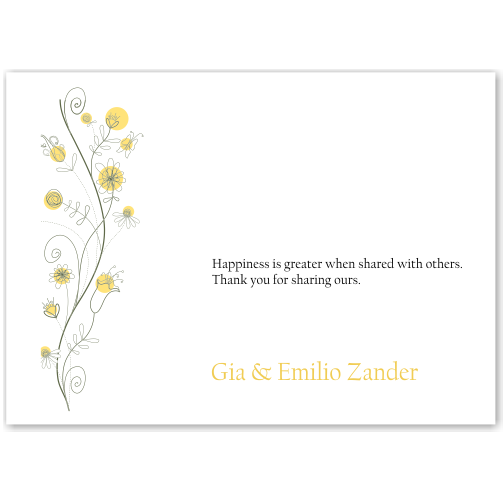 Wildflowers Gold Wedding Thank You Card 10Pk inc envelopes