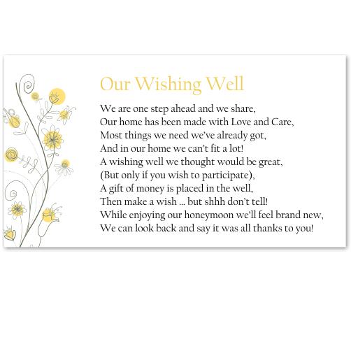 Wildflowers Gold Wedding Wishing Well Card 10Pk