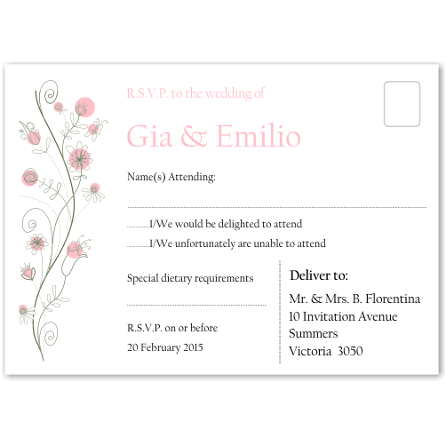 Wildflowers Pink Wedding RSVP Postcard 10Pk