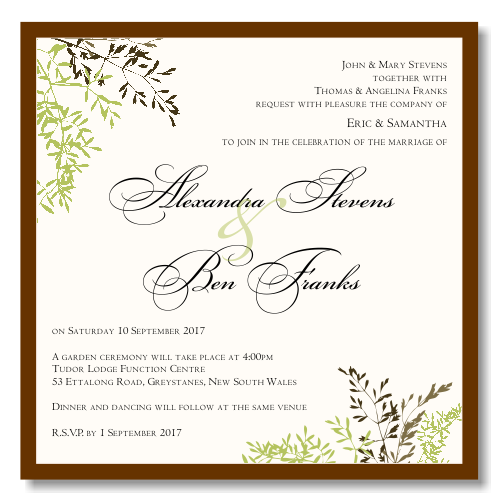 Autumn Leaves Wedding Invitation Template View detailed images 1