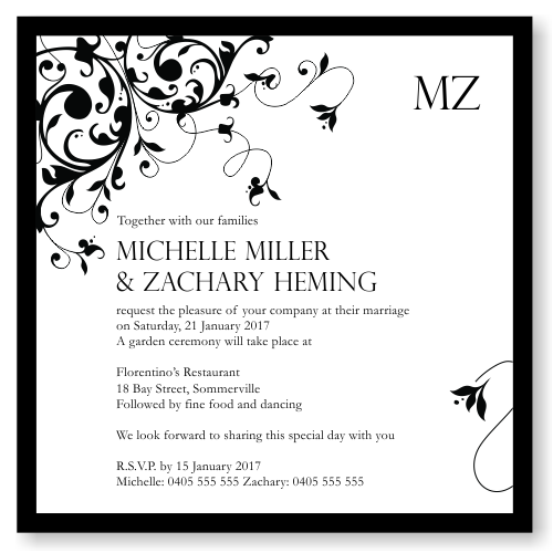Black Flourish Wedding Invitation Template
