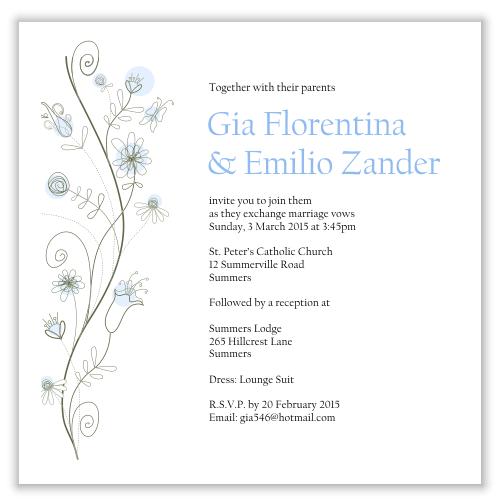 Blue Wildflowers Wedding Invitation Template