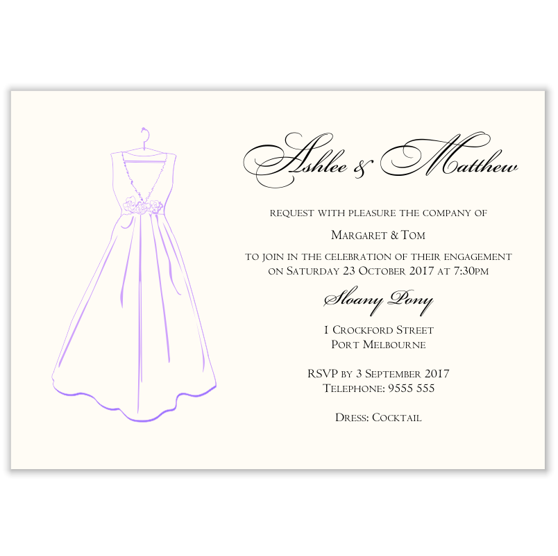 Bridal Dress Engagement Invitation Template  Engagement Invite Templates