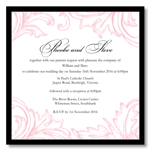 Damask Pink Wedding Invitation Template View detailed images 1