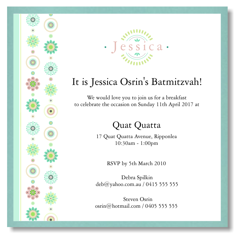 Floral Garland Bat Mitzvah Invitation Template