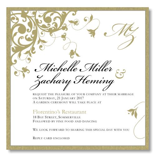 Gold Flourish Wedding Invitation Template
