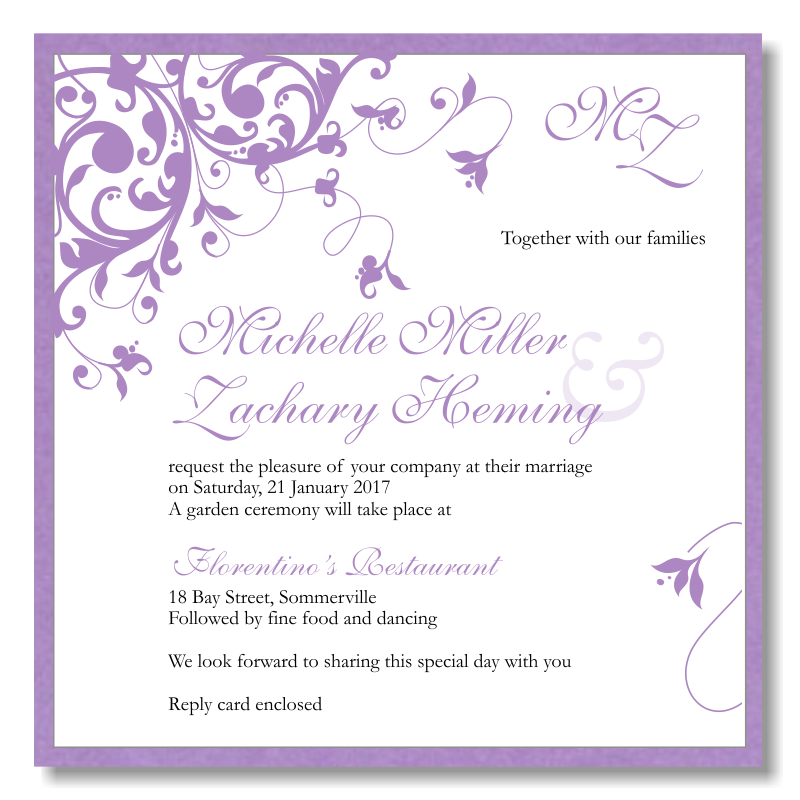 Purple Flourish Wedding Invitation Template