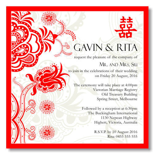 Free Red And White Wedding Invitation Templates : Red Double Happiness Wedding Invitation Template View detailed images ...