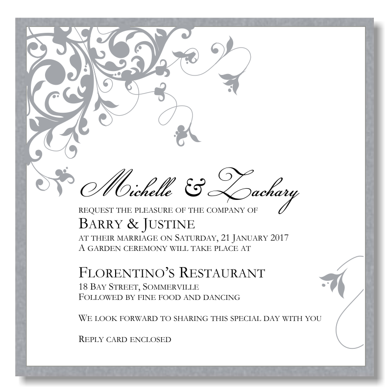 Budget Wedding Invitations Template Wedding Flourish Silver - Wedding invitation templates: silver wedding invitations templates