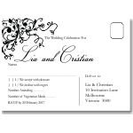 Black Flourish Wedding RSVP Postcard 10Pk