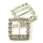 Square Diamante Luxe Invitation Buckles 12PK