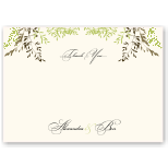 Delicate Autumn Leaves Wedding Thank You Card 10Pk inc envelopes