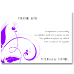Modern Classic Purple Wedding Thank You Card 10Pk inc envelopes