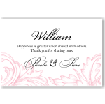 Damask Pink Wedding Place Card 10Pk