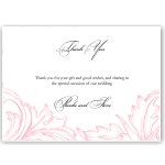 Damask Pink Wedding Thank You Card 10Pk inc envelopes
