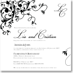 Black Flourish Wedding Invitation 10Pk inc envelopes