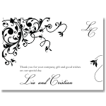 Black Flourish Wedding Thank You Card 10Pk inc envelopes