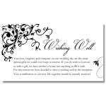 Black Flourish Wedding Wishing Well Card 10Pk