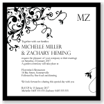 Black Flourish Wedding Invitation Template