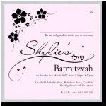 Black Floral Silhoutte Bat Mitzvah Invitation Template