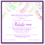Delicate Butterflies Bat Mitzvah Invitation Template