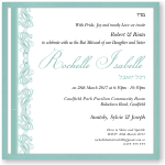 Tiffany Blue Paisley Border Bat Mitzvah Invitation Template