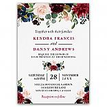 Burgundy Blush Navy Blue Floral Botanical Wedding Invitations