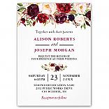 Watercolor Burgundy Red Floral Rustic Boho Wedding Invitations