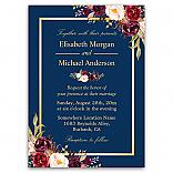 Rustic Burgundy Floral Gold Navy Blue Wedding Invitations