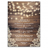 Rustic Wood & String Lights Vintage Lace Wedding Invitation