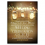 Rustic Mason Jars String Lights Elegant Wedding Invitations