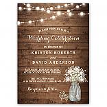 Rustic Baby's Breath Mason Jar Lights Wedding Invitations