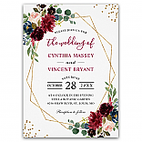 Burgundy Floral Blue Gold Modern Geometric Wedding Invitations