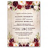 Burgundy Blush Floral Rustic Barn Wood Wedding Invitation